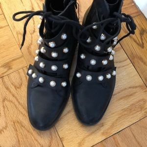 Zara Pearl lace up booties